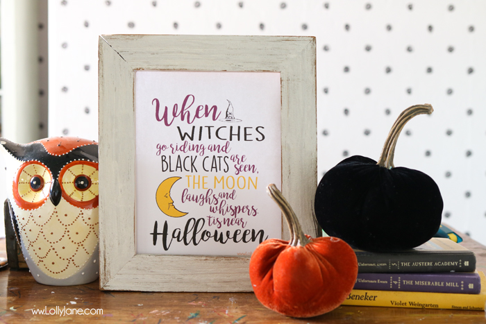 "Cute ""When Witches Go Riding"" printable art, perfect for Halloween! Just frame and display to make your space spookier!"
