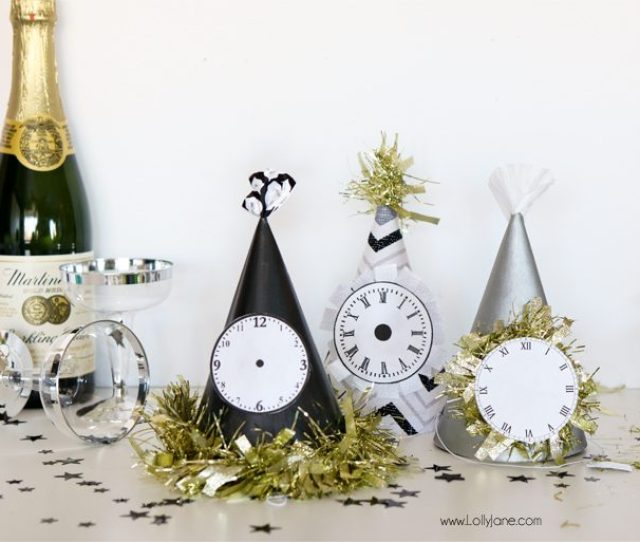 Paint Dollar Store Party Hats For Easy And Cheap Glam New Years Eve Party Gear