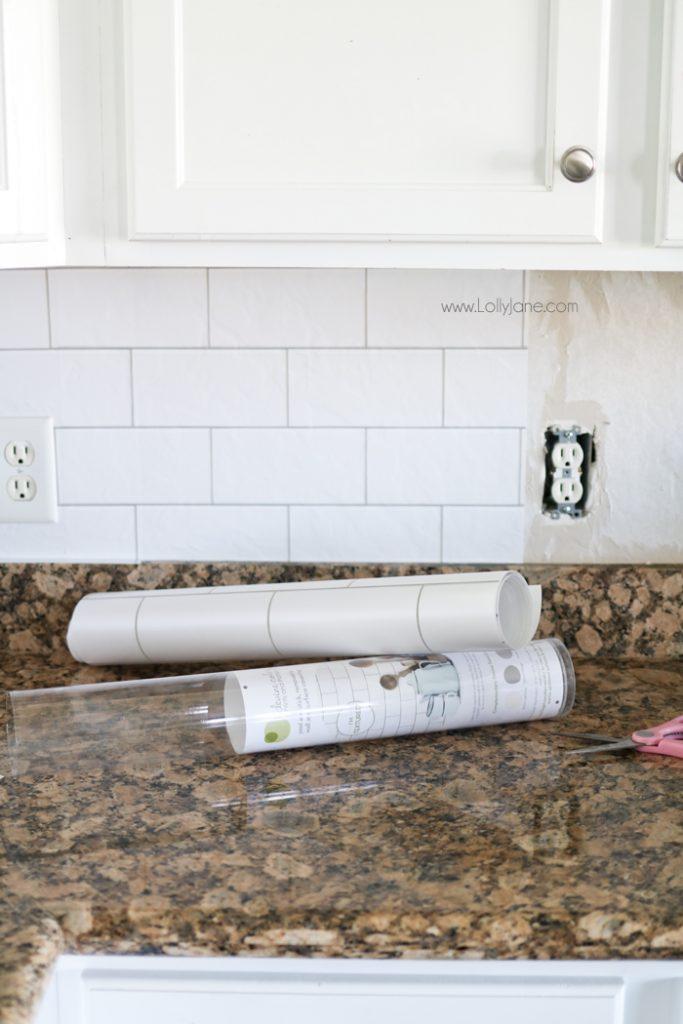faux subway tile backsplash wallpaper