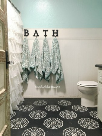 Hate your tile floors  Paint them    Lolly Jane Super affordable bathroom floor makeover solution  how to chalk paint tile  floors  So glad