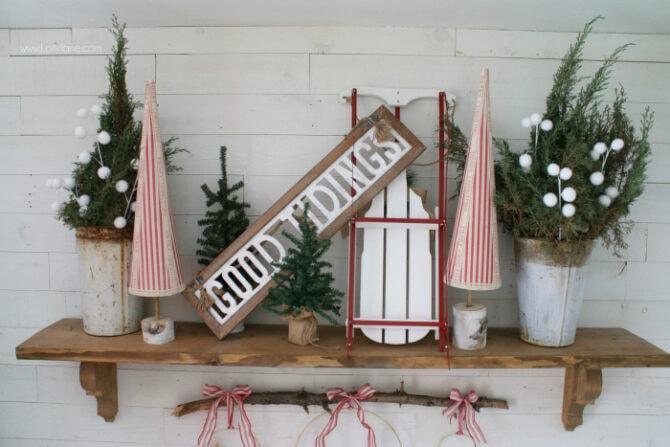 DIY Christmas Mantel Sled Sign Trees Decor Ideas