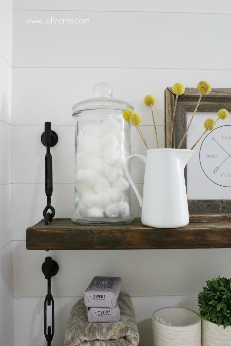 DIY Turnbuckle Shelf A Great Bathroom Addition Lolly Jane