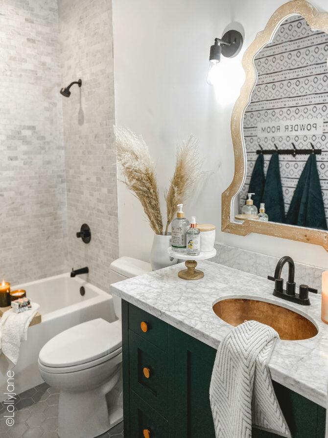 Small Modern Farmhouse Bathroom - Lolly Jane