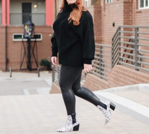 black oversized sweater cozy faux leather leggings snake booties