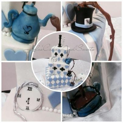 Alice in Wonderland wedding cake close up