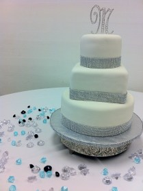 """""""Tiffany"""" Sparkles 3 tier round and square wedding cake in white with rhinestone blue border. Chautauqua Hall of Brotherhood in Defuniak Springs, FL"""