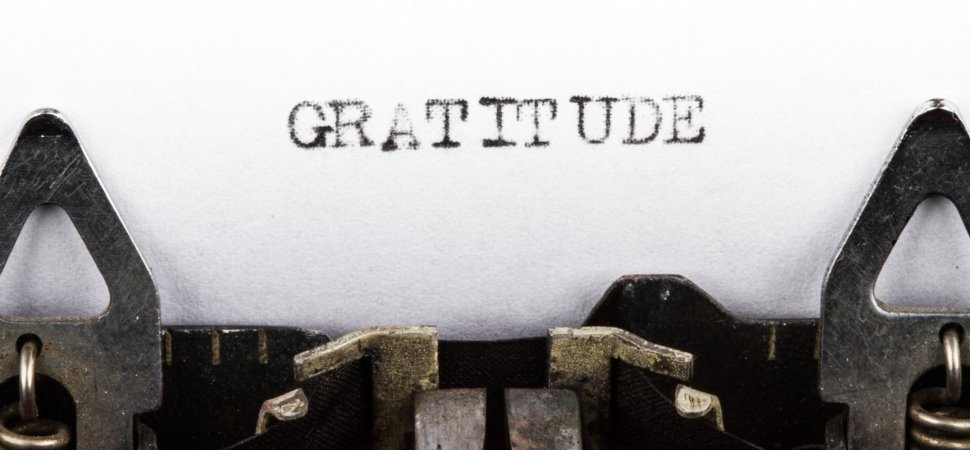 "The word ""Gratitude"" typed out of the typewriter"
