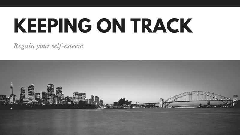 """Keeping on Track"" written as the header of a black and white image"