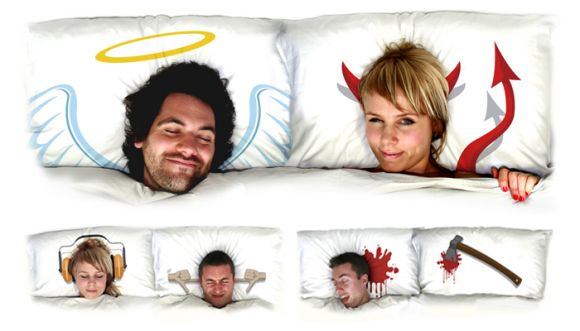 Angel Devil Pillow Art
