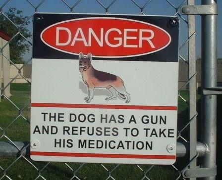 Beware Dog Has Gun