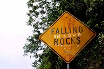 Road Sign: Falling In Love Rocks