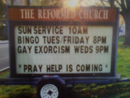 Church. Bingo. Gay Exorcism