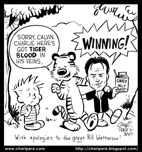 Charlie Sheen Breaks Up Calvin & Hobbes
