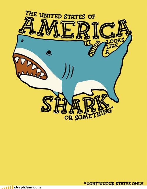 USA kind of looks like a shark.