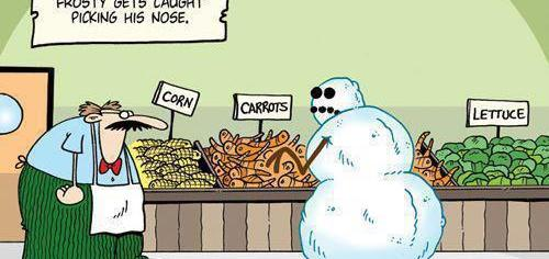 Frosty just got caught picking his nose.