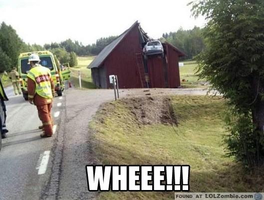 Car in a Barn Crash