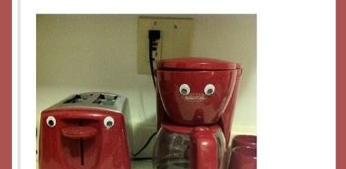 Googly eyes on toaster and coffee maker.