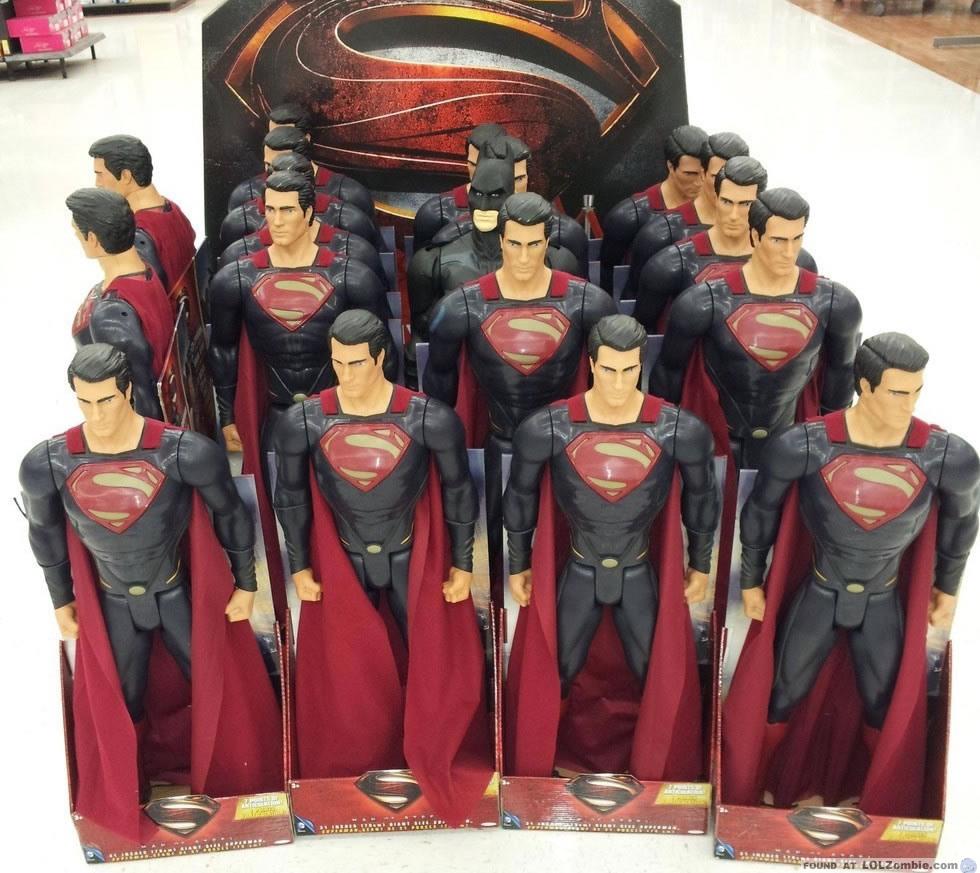 Batman hiding in Superman toys.