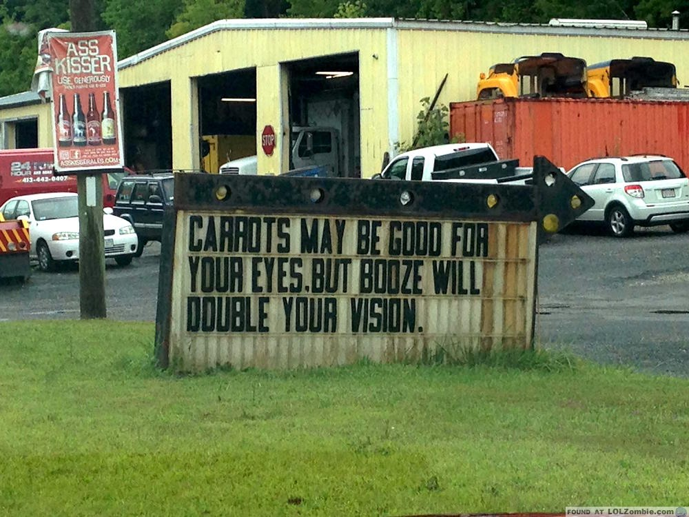carrots vs booze sign