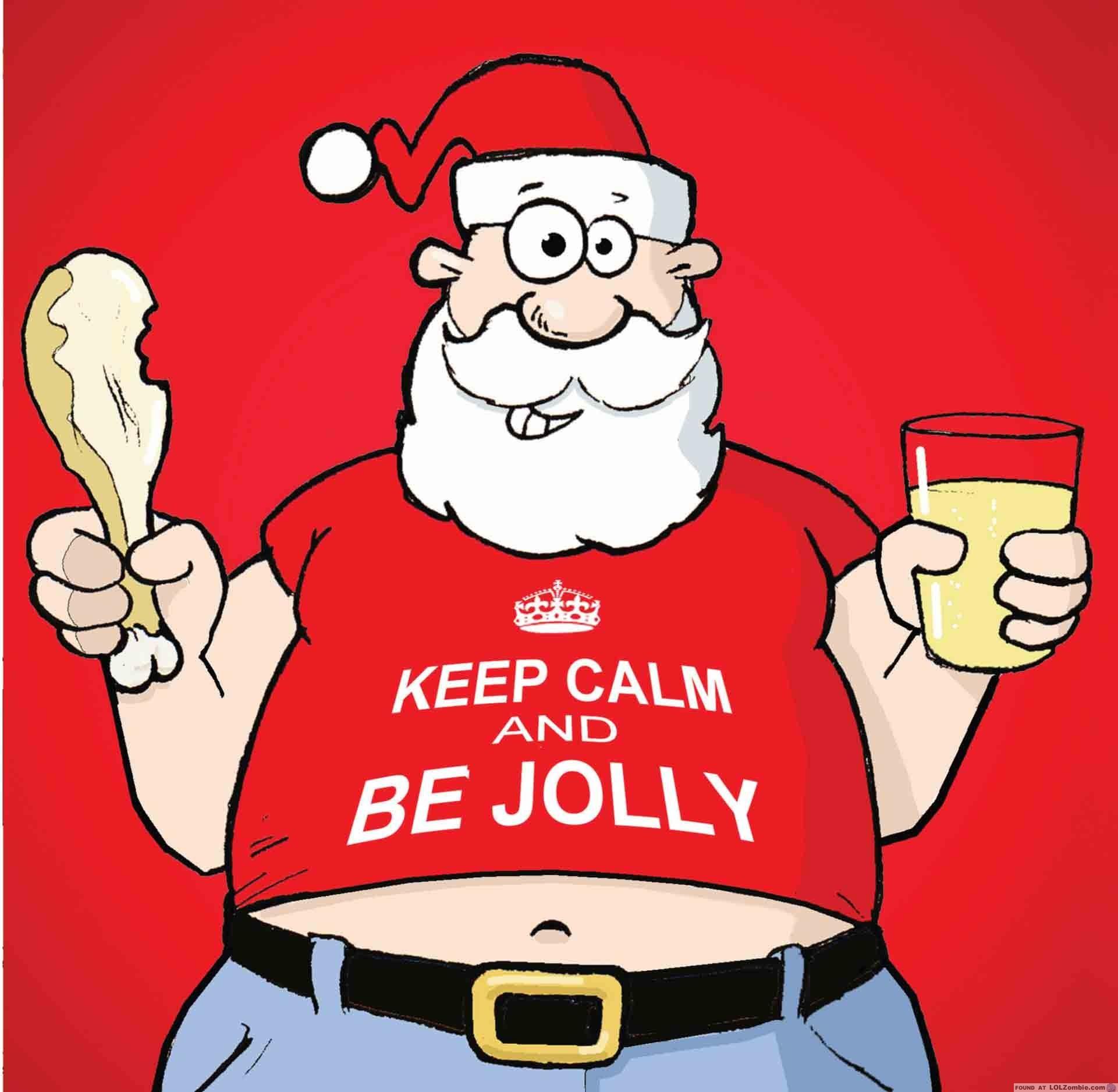 Santa holding a turkey leg and drink