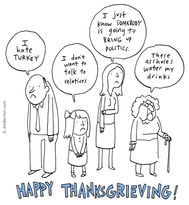 Cartoon family staying what they dislike about thanksgiving.