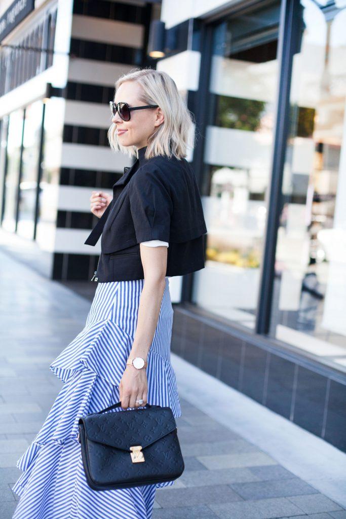 banana republic stripe skirt, louis vuitton bag