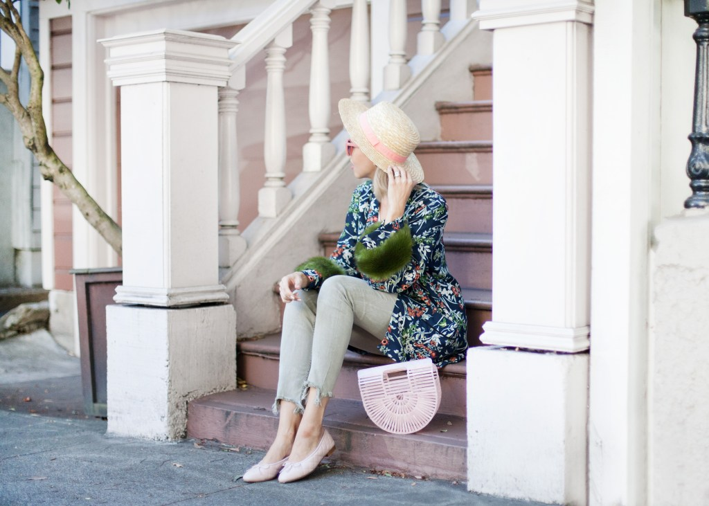 floral faux fur kimono zara | San Francisco fashion blog, Lombard and Fifth feature the image of a woman wearing a stunning Zara floral kimono with faux fur, Zara skinny jeans, ASOS straw boater hat, pink Gaia bag and pink Chanel flats