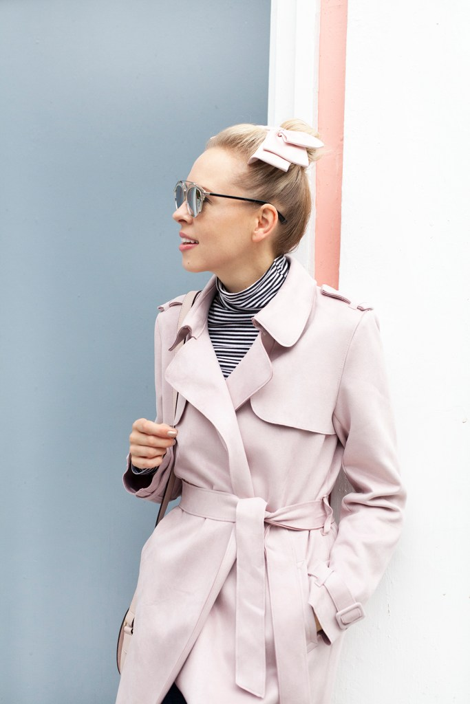 Zara Suede Trench, stripes, angela roi bag | Top San Francisco fashion blog, Lombard and Fifth, features the image of a blonde woman wearing a Zara trench coat, JCrew striped turtleneck, Angela Roi bag and velvet flat mules