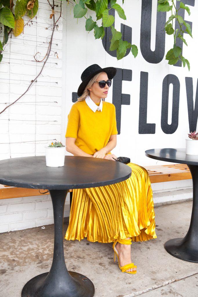 marigold pleated skirt anthropologie