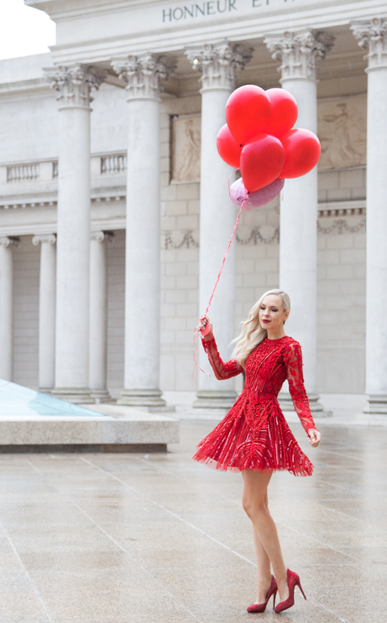 A Star is Born red beaded dress. Valentine's Day style