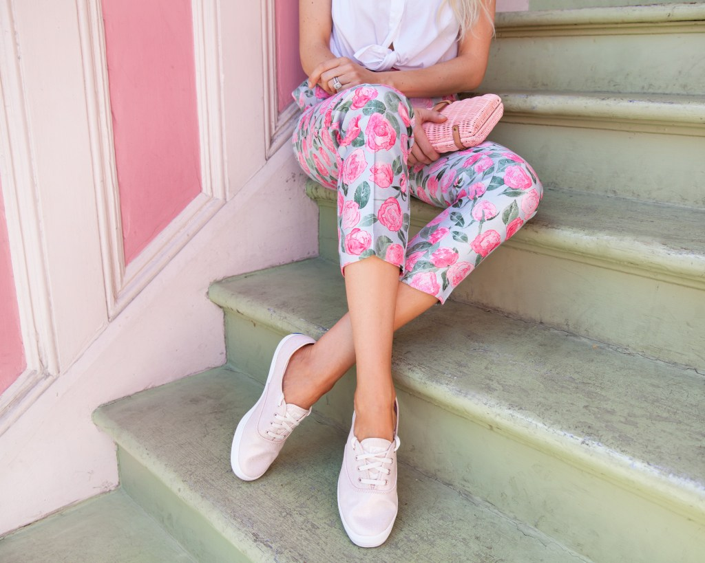 | Top San Francisco fashion blog, Lombard & Fifth, featuring a pair of pink metallic Keds
