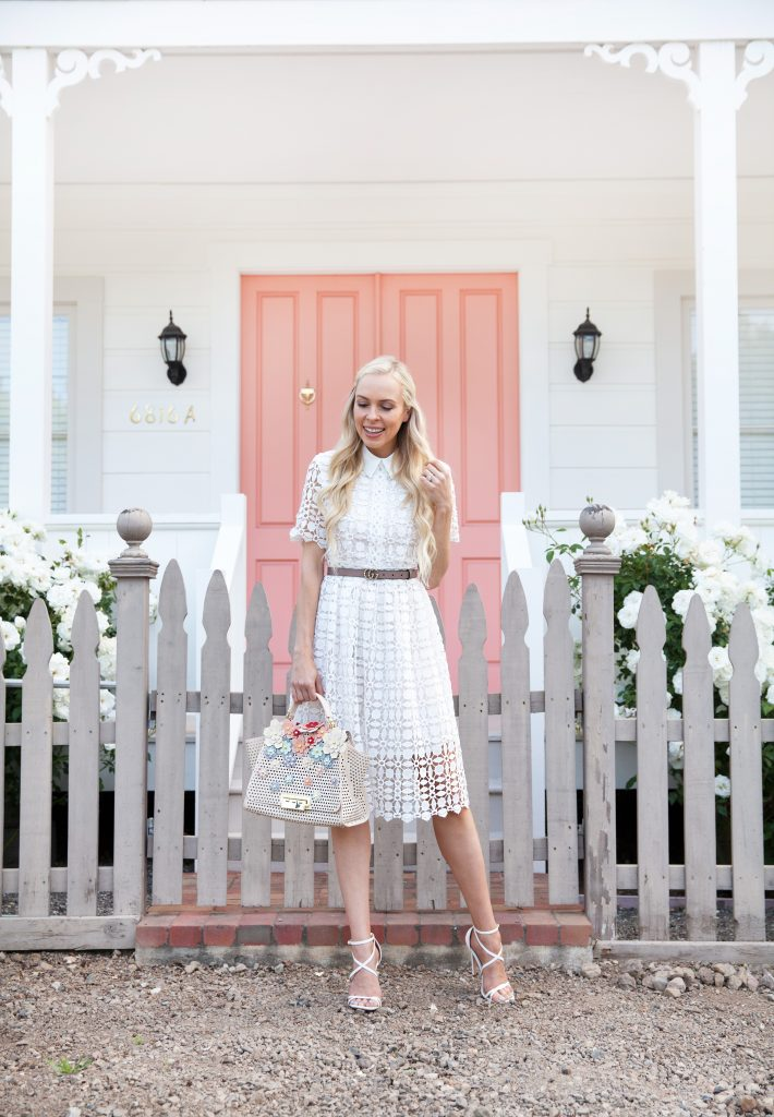 chichwish white lace dress with collar in Yountville, zac by zac posen bag, Gucci double g pearl belt