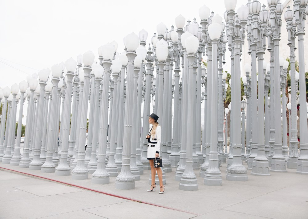 river island sequin black and white suit at LACMA lamps in Los Angeles