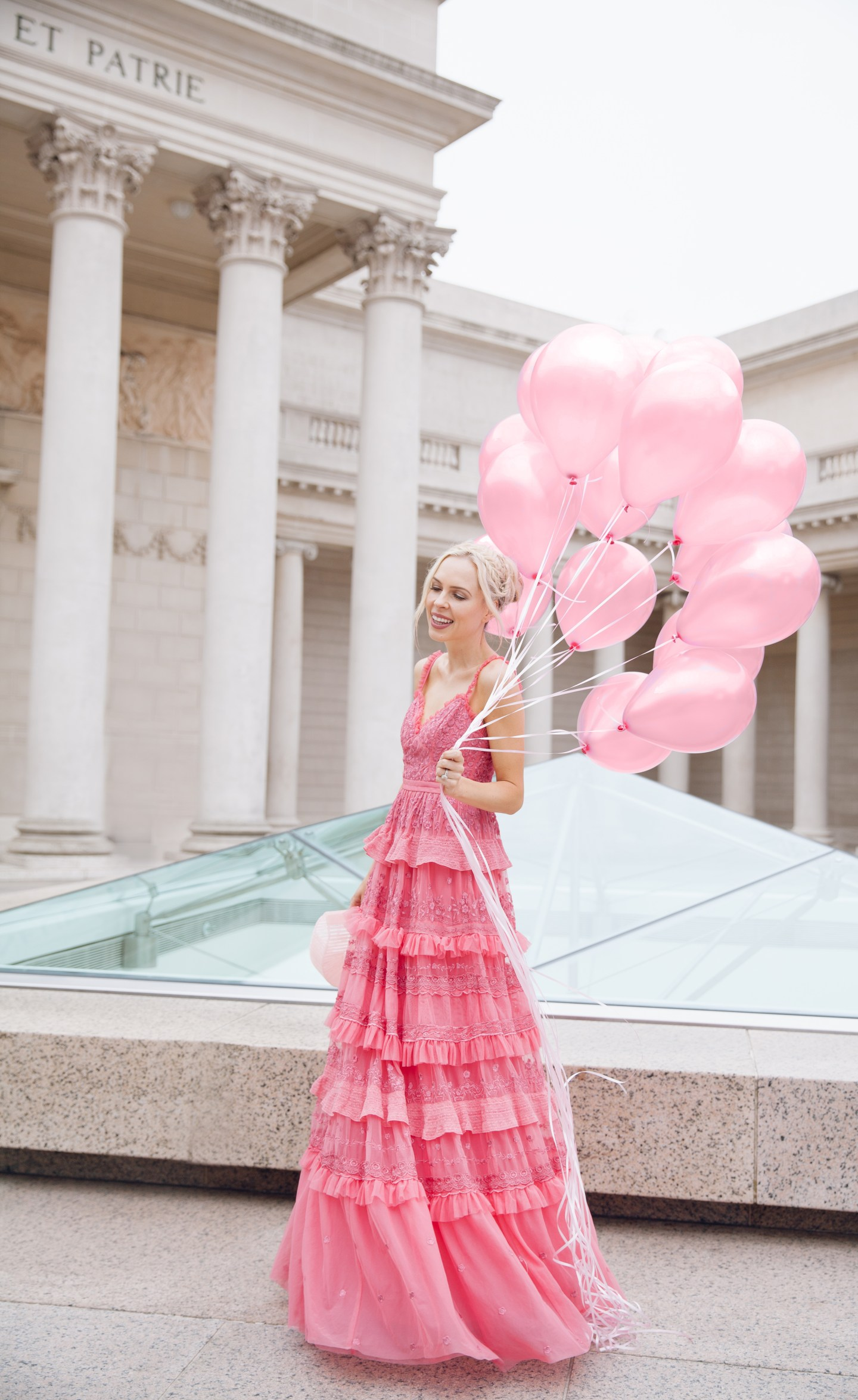 how to eBay, my style journey, needle & thread dress maxi pink embroidered   Top San Francisco fashion blog, Lombard and Fifth, features her tips on How to Ebay effectively: image of a blonde woman wearing a stunning maxi dress found on Ebay