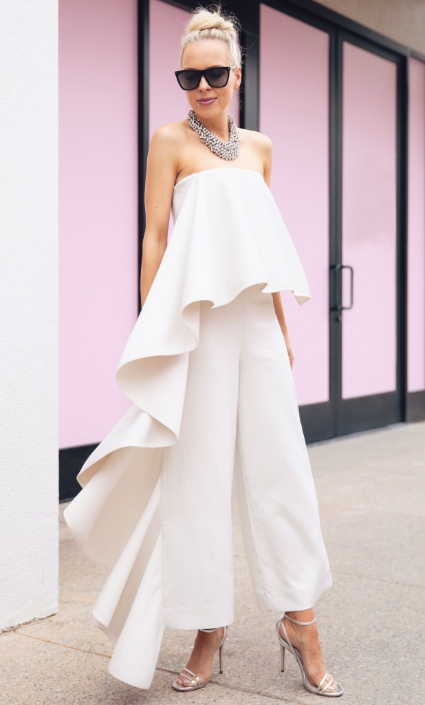 unconventional wedding dressing white jumpsuit