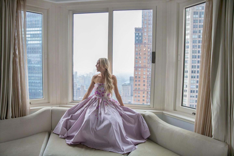 London hotel wearing marchesa notte dress via rent the runway