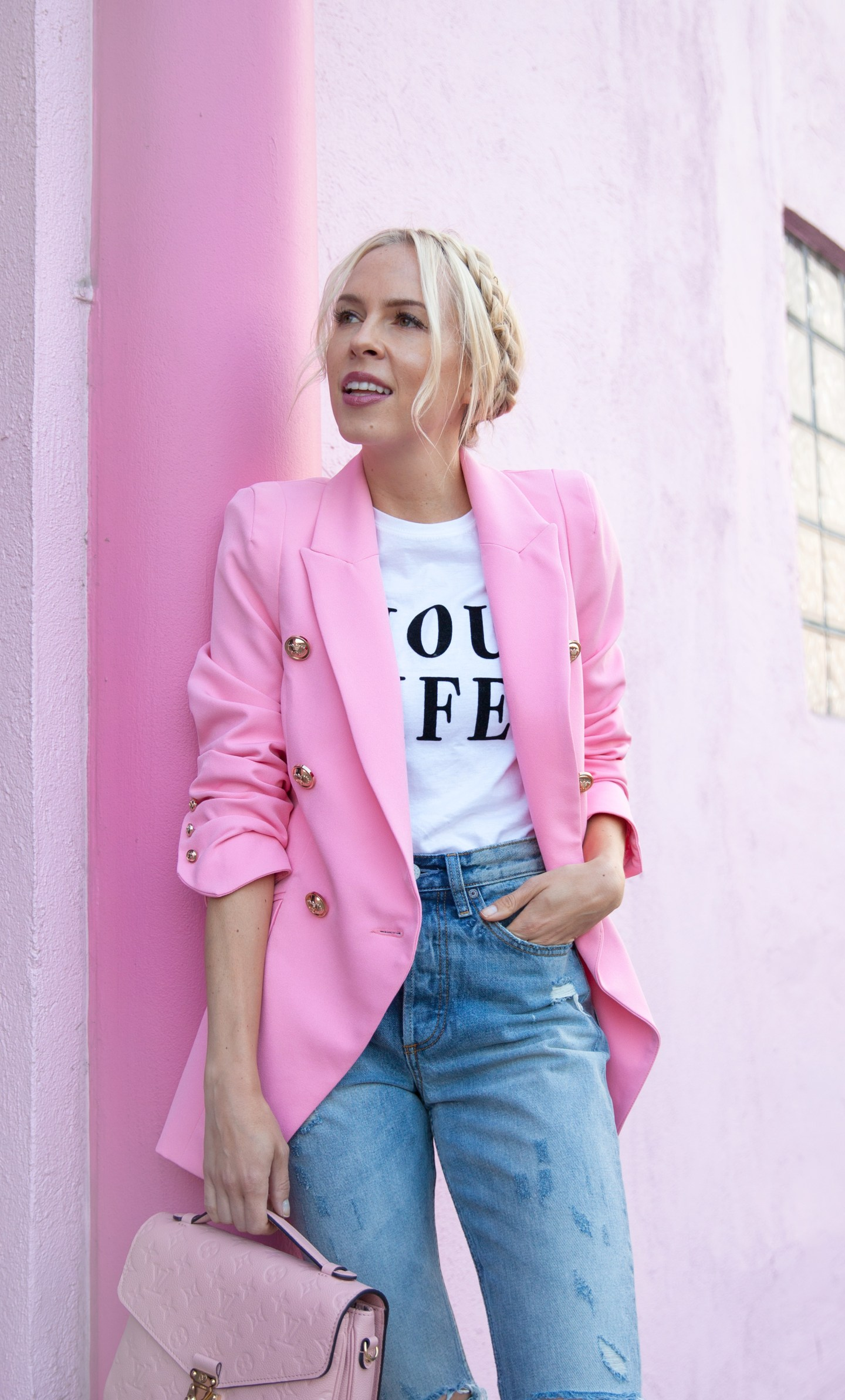 Pink double breasted tux jacket river island | Pink fashion favorites featured by top San Francisco fashion blog, Lombard and Fith: image of a blonde woman wearing a RIver Island pink blazer, denim jeans, pink flats and a pink handbag