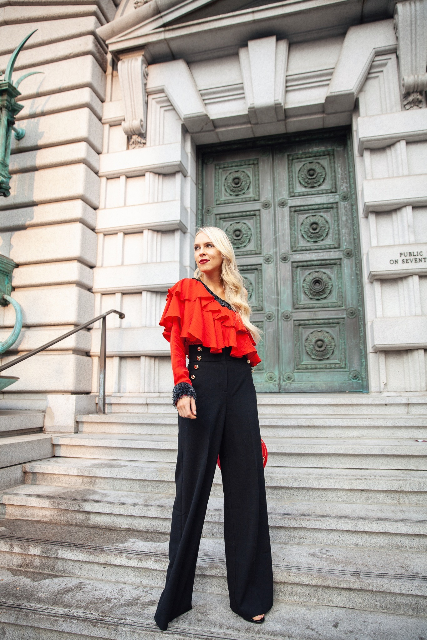 Zayan the label holiday red one shoulder top featured by top San Francisco fashion blogger Lombard and Fifth