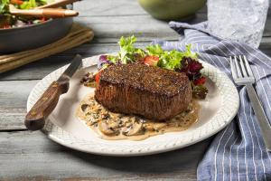 Pan Seared Top Sirloin Steak with Mushroom Cream Sauce