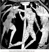 Teseo uccide il Minotauro (vaso con figure rosse, inizio V secolo)