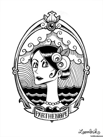 Portrait-parthenope-partenope-sirene-sirena-napoli-naples-medaillon-femme-lady-girl-pin-up-mer-mare-nuages-cloud-black-noir-white-blanc