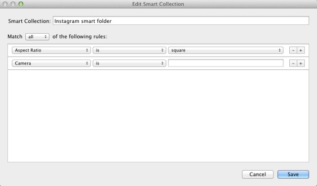 Adobe Lightroom Instagram smart folder filtering rules