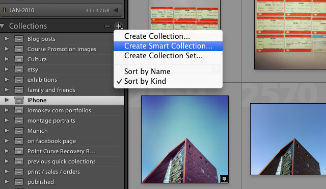 Create a new smart folder in Adobe Lightroom