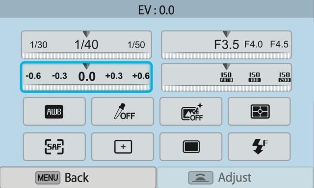 Samsung NX300 on screen control panel