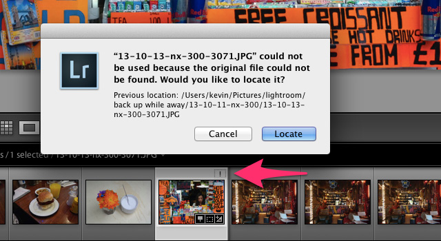 click on exclamation mark locate file lightroom