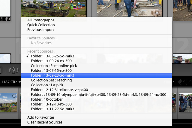 Lightroom 5 tip recent sources folders collections