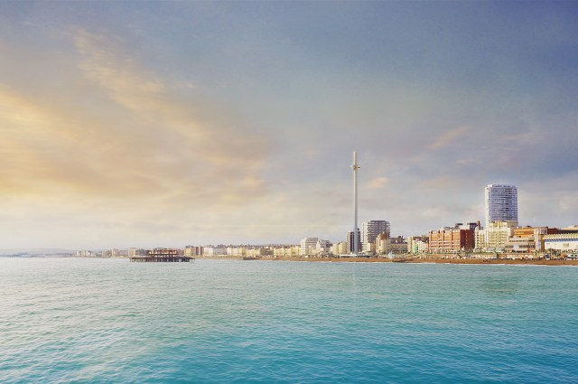 Brighton i360 as it will be seen from Brighton Pier.Architectural visualisation by F10
