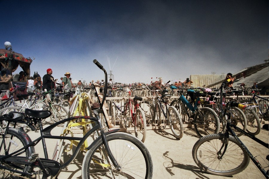 Bikes burning man 2005 by Kevin Meredith