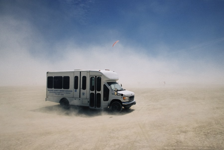 Washoe county senior services bus at Burning Man 2005 by Kevin Meredith