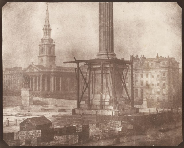 Nelsons column under construction by William Henry Fox Talbot - 1843